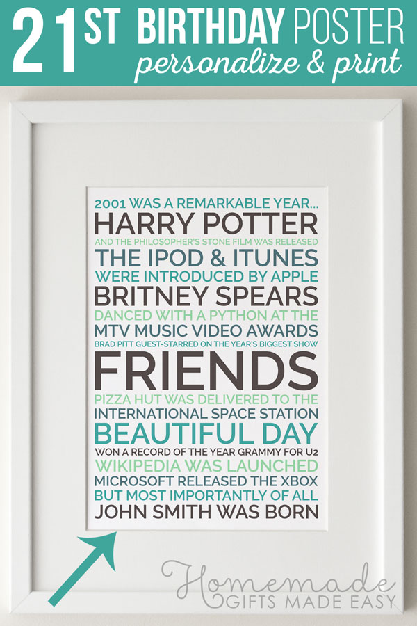 Create a personalized poster 21st birthday gift