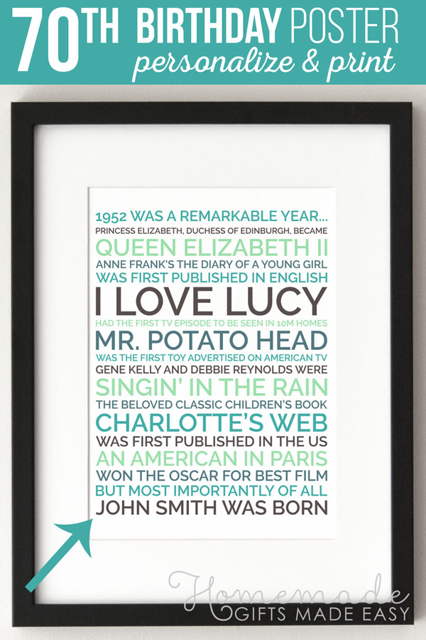Create a personalized poster 70th birthday gift