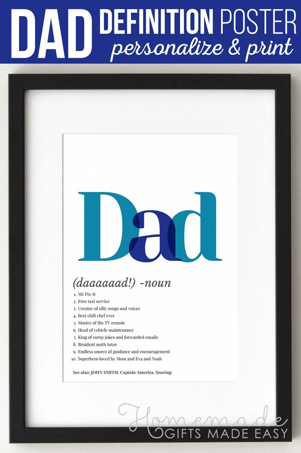 Dad Definition Personalized Poster Gift