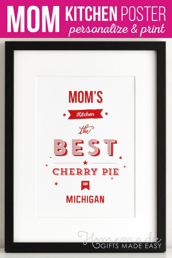 Mom's Kitchen Personalized Poster Gift