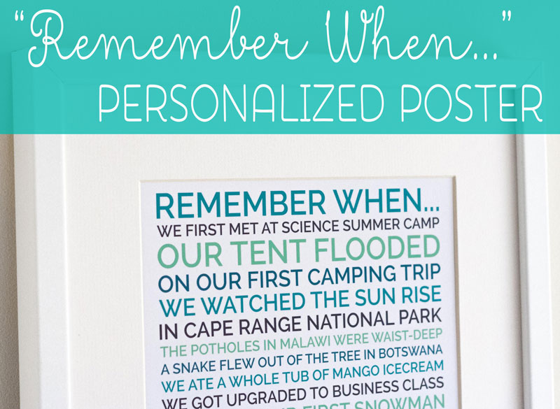 personalized remember when poster valentine gift