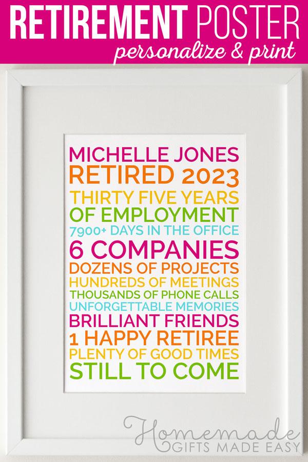 funny retirement poster gift