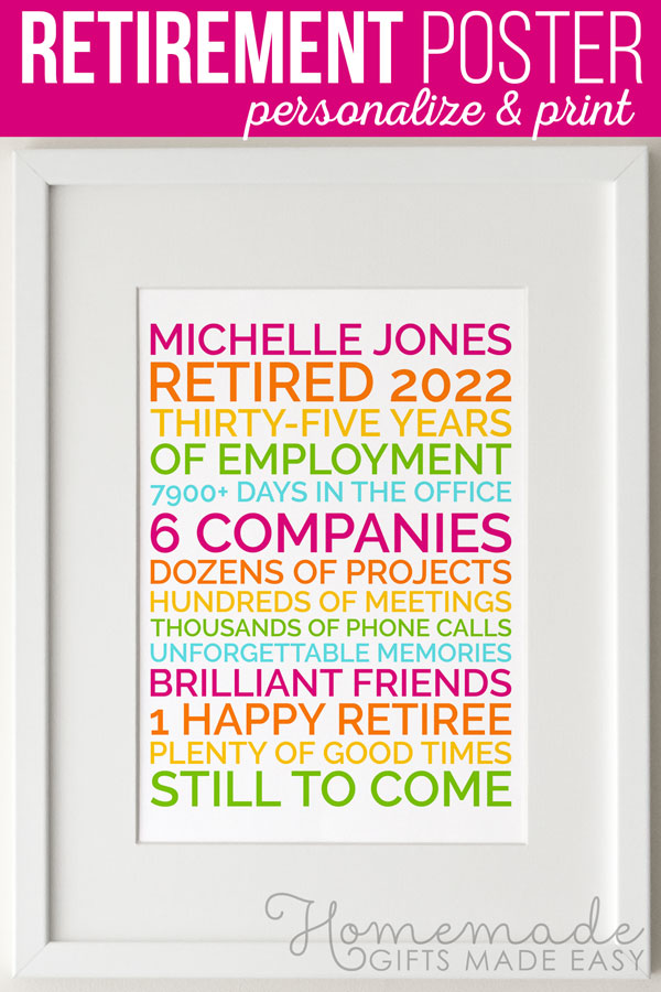 Create a personalized poster retirement gift