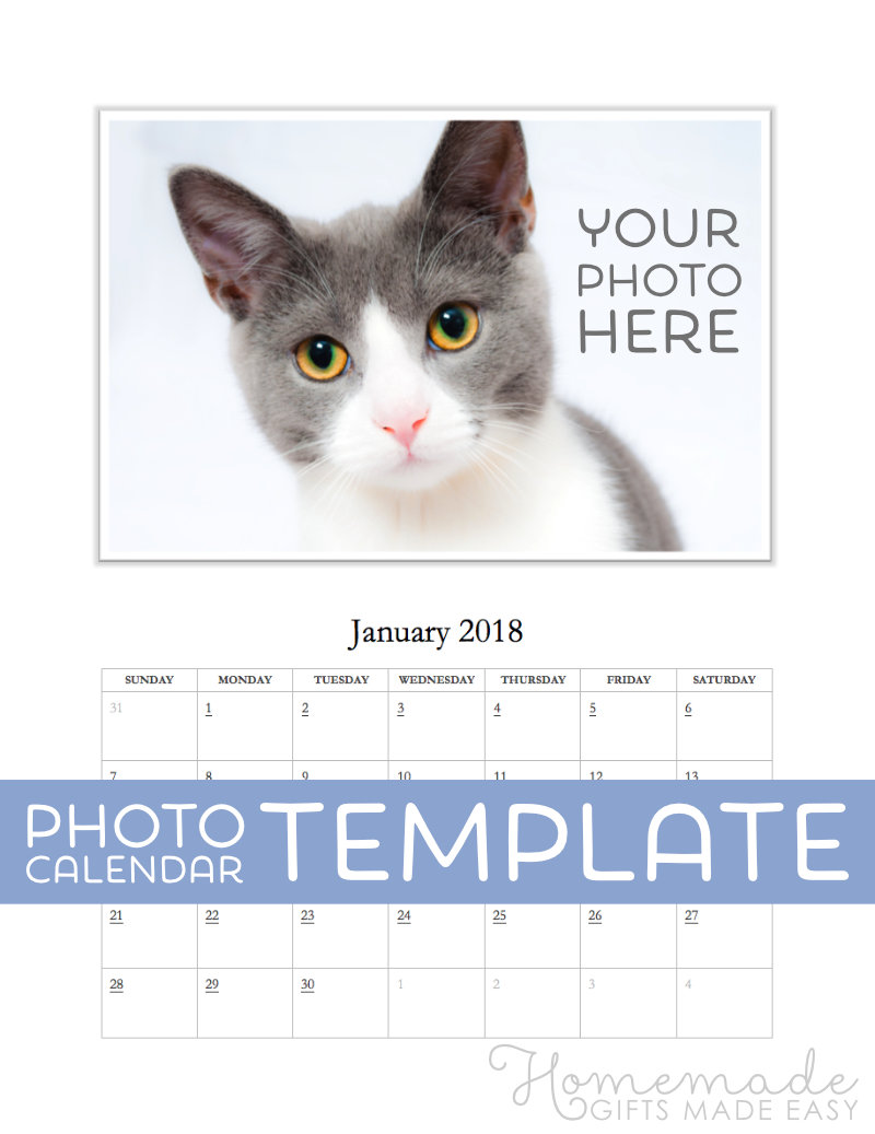 Free Photo Calendar Template for 2018, 2019 for MS Word