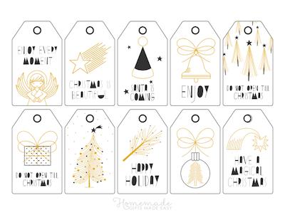 Printable Christmas Tags Black Gold Angel Gift Tree Star Bell Ornament 10