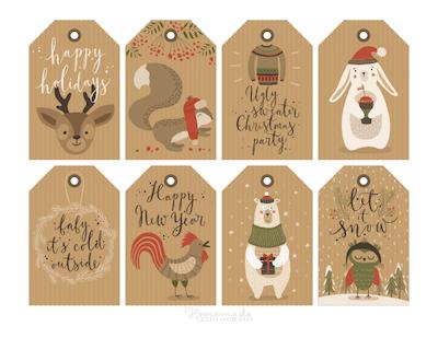 Printable Christmas Tags Paper Deer Squirrel Sweater Rabbit Bear Wreath Owl 8