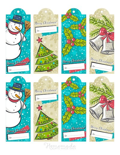Printable Christmas Tags Vintage Snowman Tree Bells Holly 8