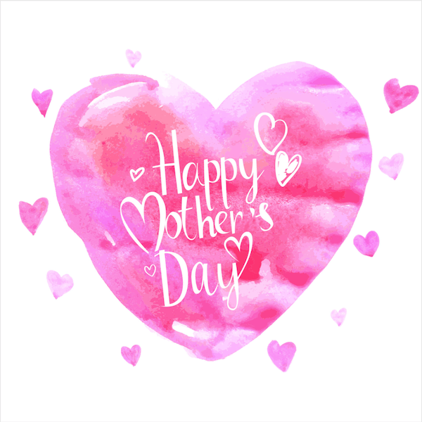 free printable mothers day cards - watercolor heart