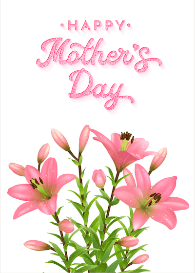 Printable Mothers Day Card 7x5 Lillies