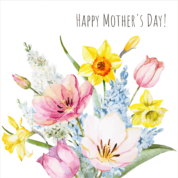 free printable mothers day cards - watercolor bouquet of spring flowers