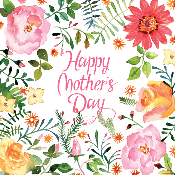free printable mothers day cards - watercolor flower border
