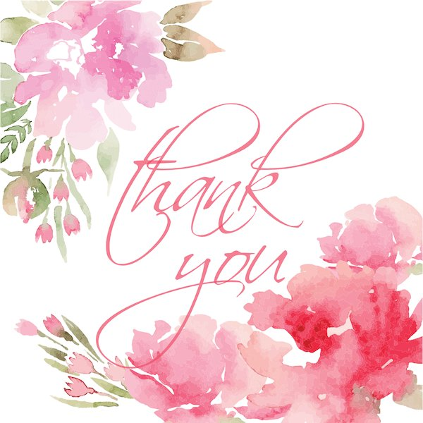 printable thank you cards - Watercolor flowers