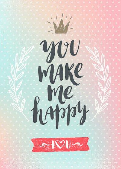 Printable Valentine Cards You Make Me Happy 5x7