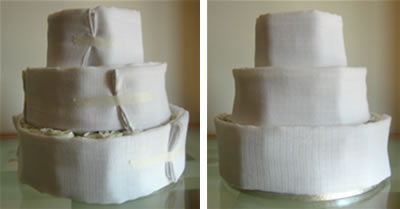how to make diaper cakes - muslin icing