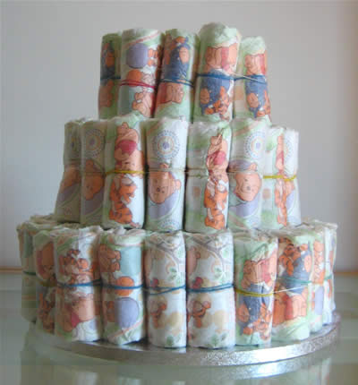 how to make diaper cakes - top layer