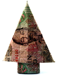 Money Origami CHRISTMAS TREE Folded with 200 Russian Rubles Bill ... | 320x240