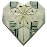 homemade valentine gifts - money origami heart