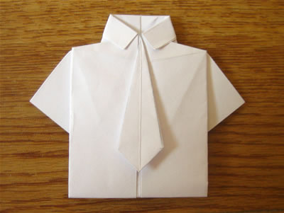 money origami shirt and tie finished