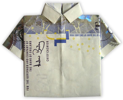 dollar bill origami shirt. money origami shirt finished