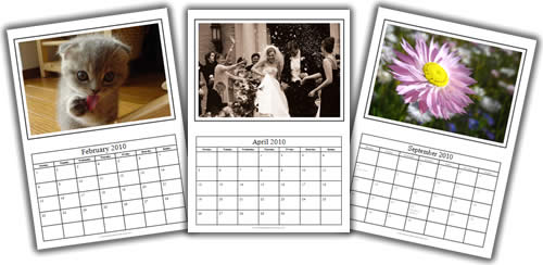 photo calendar template collage trio