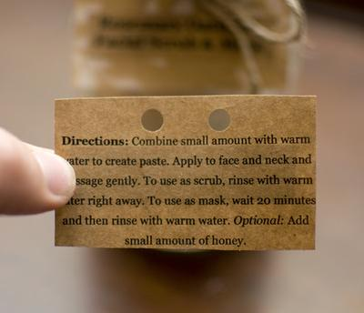 Directions on the back of the tag.